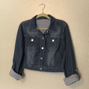 Denim Jacket (dark wash, cropped)